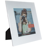 "White Glass Frame With Beveled Edge - 8"" x 10"""