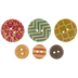 Patterned Round Wood Buttons