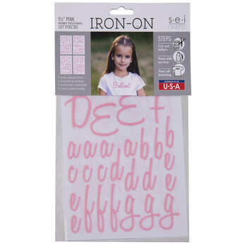 Pink Vinyl Iron-On Applique Alphabet