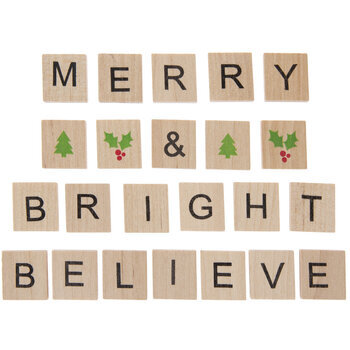 Merry & Bright Wood Tile Stickers