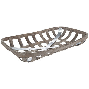 Distressed Brown Wood Tobacco Basket