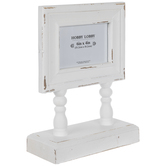 "White Distressed Wood Frame With Stand - 6"" x 4"""
