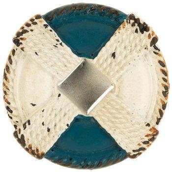 Blue & White Buoy Metal Knob