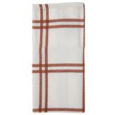 White & Orange Windowpane Cloth Napkins