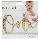 Gold Glitter One Iron-On Applique