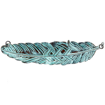 Antique Patina Feather Pendant