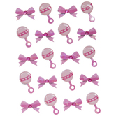 Pink Rattles & Bows Stickers