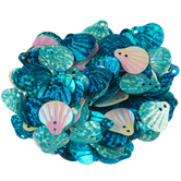 Blue Mix Seashell Holographic Sequins