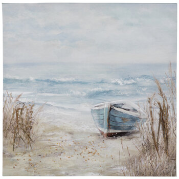 Shoreline With Boat Textured Canvas Wall Decor