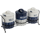 Navy & White Dotted Hot Sauce Holders