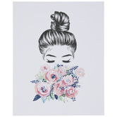 Girl Smelling Flowers Wood Wall Decor