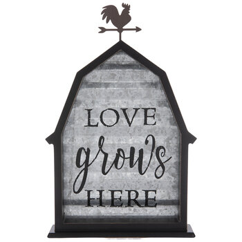 Love Grows Here Barn Metal Decor