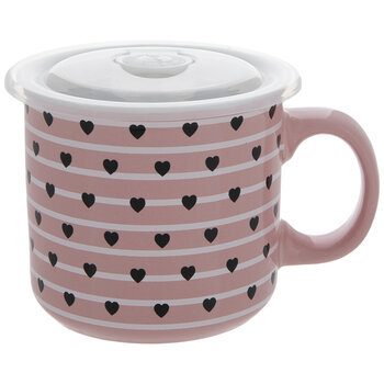 Pink & White Striped Heart Soup Mug