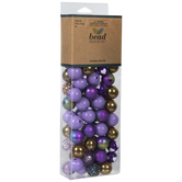Purple & Gold Round Bubblegum Bead Mix