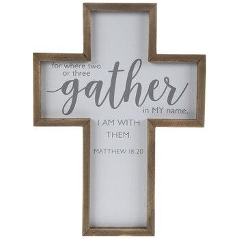 Matthew 18:20 Wood Wall Cross