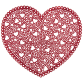 Metallic Red Doily Heart Placemat