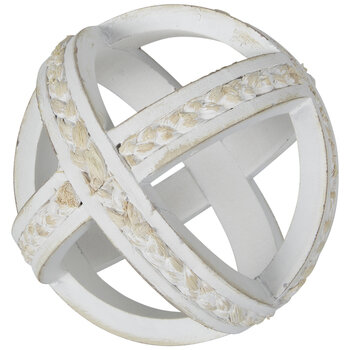 White Wood Decorative Sphere With Rope Trim