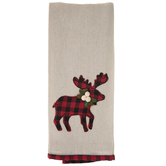 Red & Black Buffalo Check Reindeer Kitchen Towel