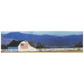 White Farmhouse & American Flag Canvas Wall Decor