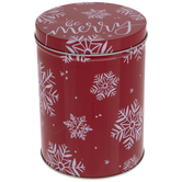 Be Merry Snowflakes Metal Canister