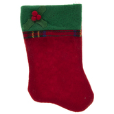 Mini Red & Green Stocking With Plaid Trim