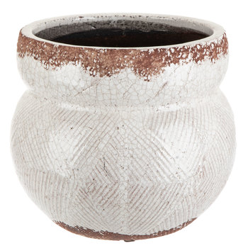 White Crackle Flower Pot