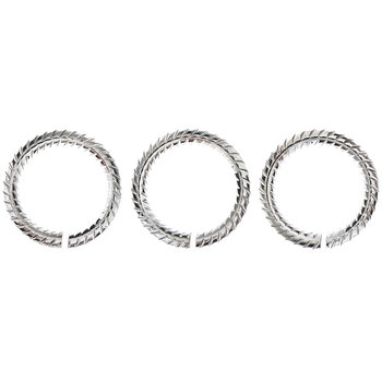 Sterling Silver Plated Ribbed Jump Rings - 8.8mm