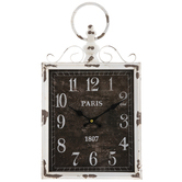 Antique White Rectangle Metal Wall Clock