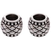 Fancy Pattern Barrel Metal Beads - 7mm x 9mm