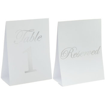 Silver & White Table Number Cards