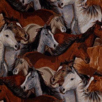 Horse Heads Anti-Pill Fleece Fabric