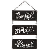 Thankful Grateful Blessed Metal Wall Decor