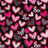 Hearts With Patterns Apparel Fabric
