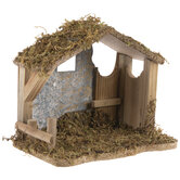 Mossy Brown Wood Nativity Stable