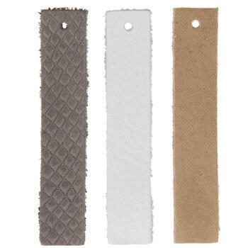 White, Gray & Beige Bar Leather Earring Blanks