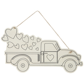Truck With Hearts Wood Shape
