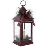 Red Plaid & Pine LED Metal Lantern