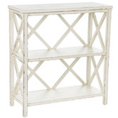 Antique White Three-Tiered Wood Shelf