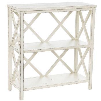 Antique White Three-Tiered Wood Shelf