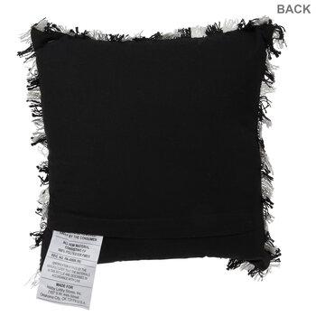Black & White Buffalo Check Fringe Pillow