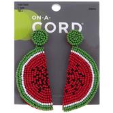 Beaded Watermelon Slice Earrings