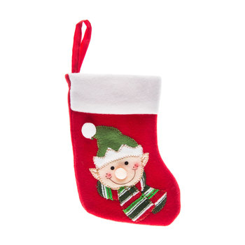 Red Elf Stocking With White Cuff