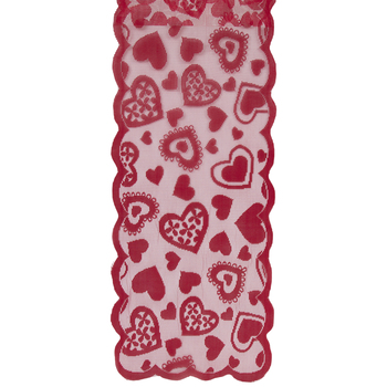 Red Hearts Lace Table Runner