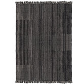 Black & Cream Woven Rug With Fringe - 5' x 7'