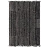 Black & Cream Woven Rug With Fringe - 5' x 7'