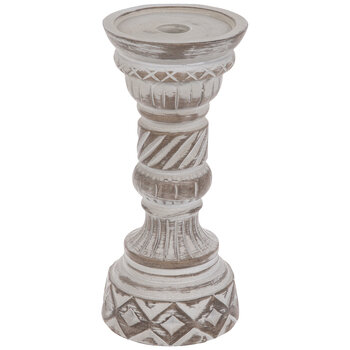 Gray & Brown Engraved Wood Look Candle Holder