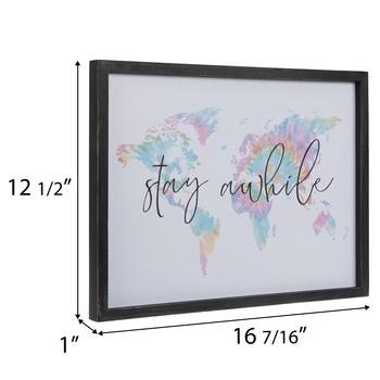 Stay Awhile World Map Wood Wall Decor