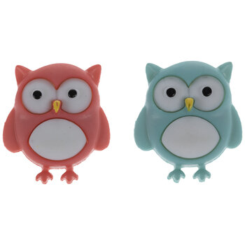Coral & Teal Owl Shank Buttons
