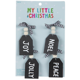 Black & White Buffalo Check Tag Ornaments