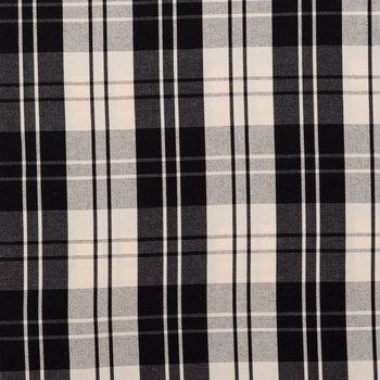 Black & White Plaid Duck Cloth Fabric